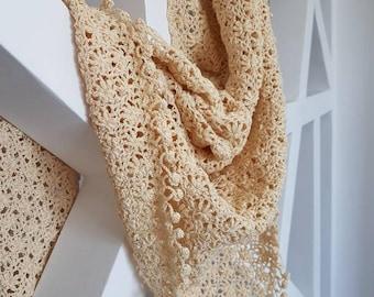 Ivory crochet shawl/ wrap made with  macrame cotton big size