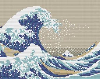 The Great Wave off Kanagawa Cross Stitch Pattern - Instant PDF Download