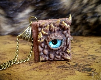 Earth Dragon journal - brown and gold dragon's eye necklace, little leather book, miniature wearable notebook, handmade glass eye jewelry