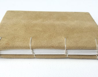PETITE leather journal-notebook with hand-marbled paper