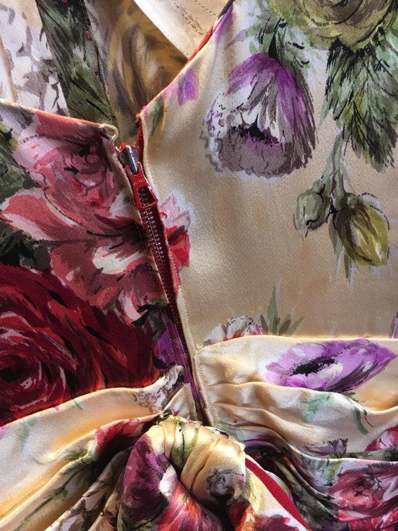 Stunning Vintage Original 1930s Gold Floral Satin… - image 6