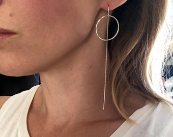 Lightweight Hammered Circle Extra Long Threaders. Available in Sterling Silver or 14K Yellow  and Rose Gold Filled.