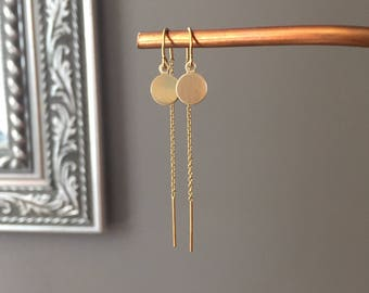 14K Yellow or Rose Gold-filled Threaders with Polished 7.5mm Disc Dangles
