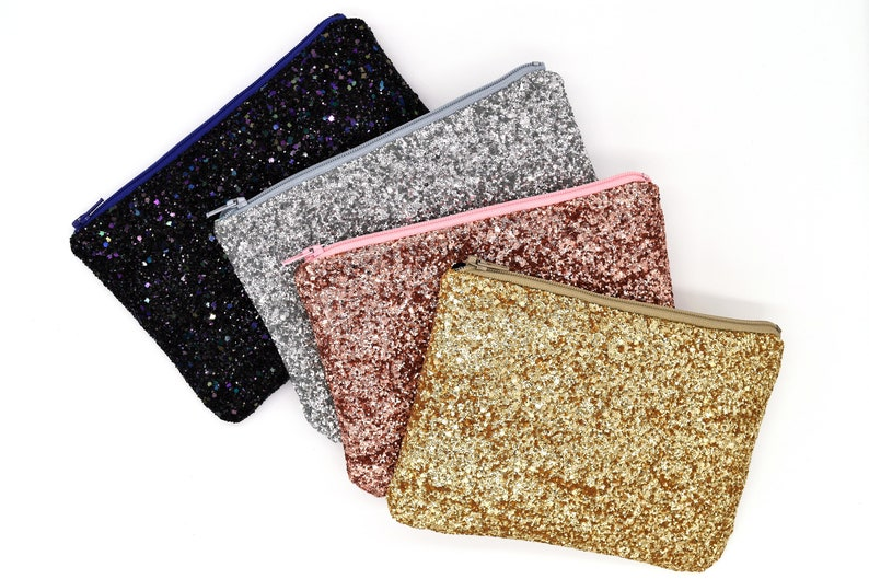 Glitter Clutch Sparkly Zipper Pouch Rose Gold Pouch Gold image 0