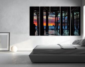 Los Angeles art, santa monica, los angeles, beach artwork, ocean beach, vintage los angeles, los angeles wall art, los angeles print,