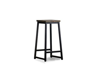 Wood and metal breakfast bar stool - kitchen stool, similar to reclaimed wood