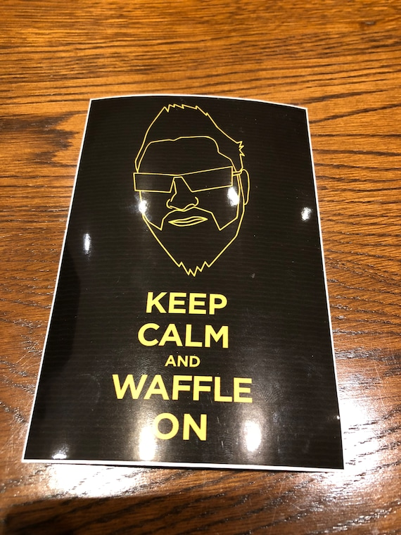 LARGE - Keep Calm & Waffle On Sticker