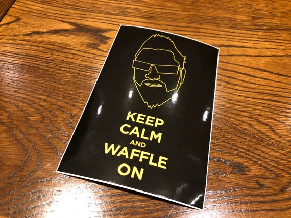 Keep Calm & Waffle On Sticker