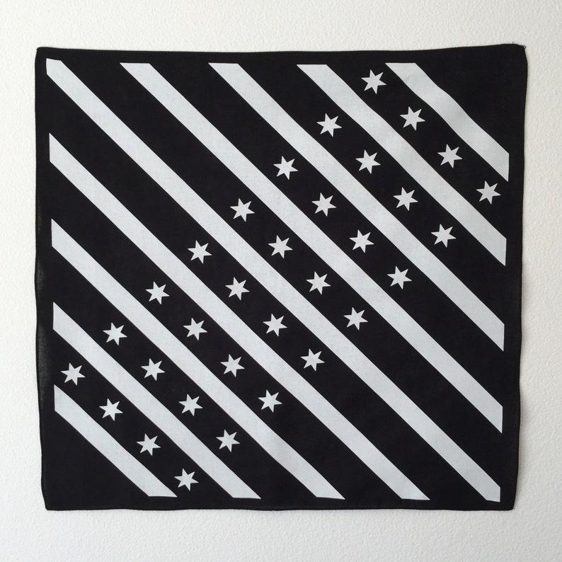 Black and White Chicago Flag Bandana  Free Shipping image 0