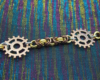 For The Love Of A Good Robot - steampunk Byzantine necklace with cogs
