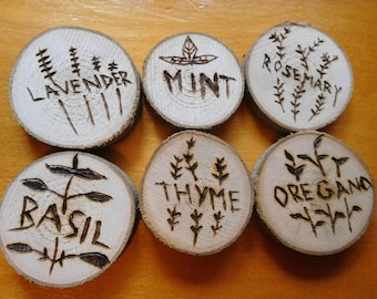 Vegetable and Herb Wooden Plant Markers