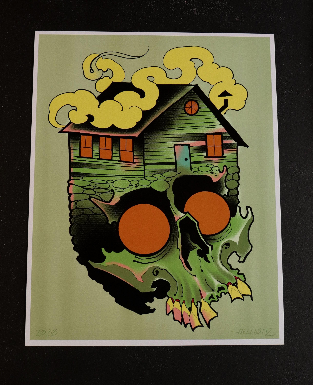 Cabin Fever Green Skull Print