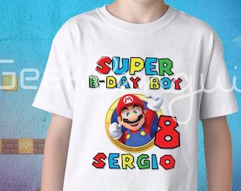 Super Mario Birthday Shirt, Super Mario Custom Shirt, Personalized Mario Shirt, Mario family shirts, Birthday t-shirt for girls and boys
