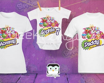 Shopkins theme birthday Girl theme Shirts for the entire family Girl Dad Mom Age Name Custom T-shirt Strawberry donut lipstick