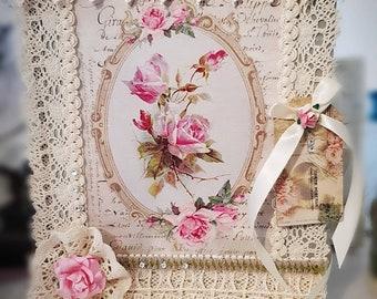 Altered Shabby Chic English Rose Victorian Style Photo Album.
