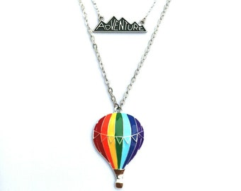 GiftJewelryShop Hot Air Balloons Glass Cabochon Rotatable Lucky Pendant Necklace
