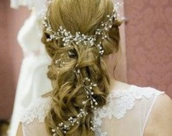 Extra long hair vine Pearl headband Wedding Pearl headband Bridal Hair Accessories Wedding hair vine babys breath hair piece crystal vine