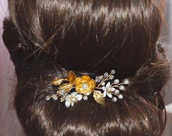 Gold Leaf Hair Comb Gold Hair Pin Vine Leaf Bridal Comb Bridal Hairpiece Wedding Hair piece Leaf Bridal Hair Vine Gold Leaf Head Piece