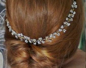 Long hair vine Bridal Headpiece Crystal Bridal Hair Piece Hair Halo  Wedding Hair Piece wedding hair vine bridal crown wedding headband