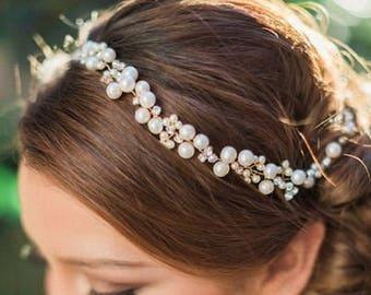Pearl Bridal Headband, Bridal Headpiece, Сrystal Wedding Headband, Gold Bridal Hair Vine, Wedding Pearl Crystal Vine, Bridal Headband Navy