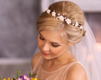 White flower crown Christmas crown Headband flower girl headband Flower girl flower crown Flower Wreath White Flower Headband Gift idea