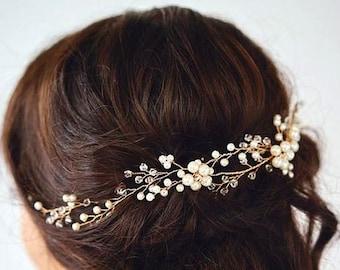 Pearls Hair vine Wedding Hairvine Bridal hairpiece Ivory Hair Vine Hair Clips Wedding Hair Accessories Bridal Gold Hair Clip Crystal