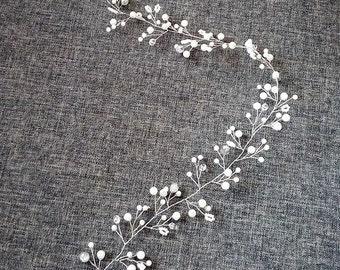 Long hair vine Bridal hair vine wedding hair vine Crystal vine Wedding headpiece  crystal silver Pearl hair vine Bohemian bridal headpiece