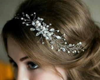 Wedding headpiece Bridal Head Band Rhinestone and Pearl headband Bridal Headband Wedding Headband Bridal Headband Bridal Headpiece Headdress