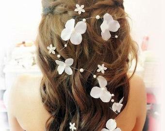 Long Ivory Hair Vine Flower Hair Vine Flower Crown Wired Pearl Bridal Headpiece Beaded Flower Hair Vine Wedding Headpiece pearl hair vine