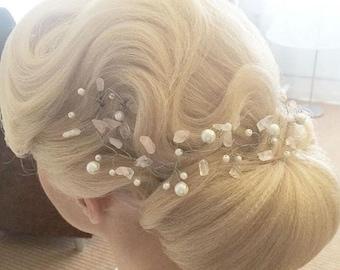 Quartz Hair Vine, Silver Hair Vine, Gold headpiece, Bridal Headpiece, Wedding Hair Vine, Bridal Hair Piece, Wedding Hair Accessories