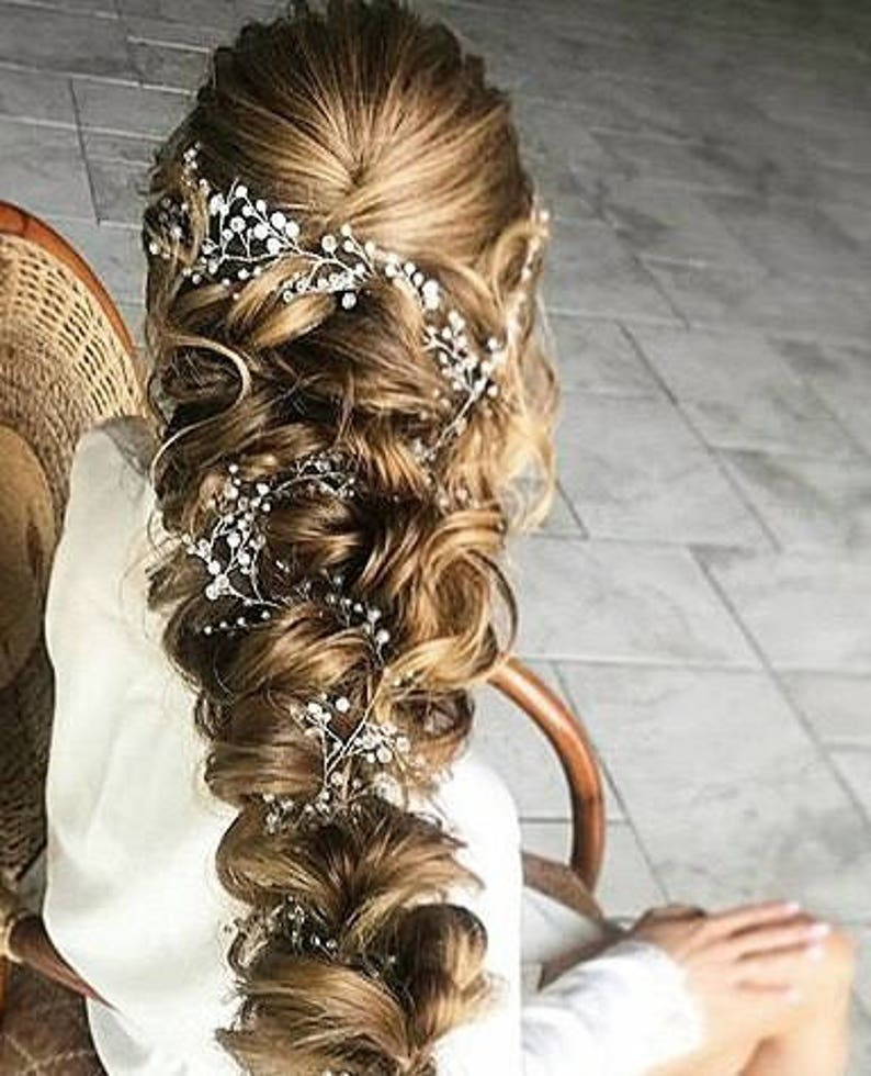 Crystal and Pearl hair vine Babys breath hair piece Wedding image 0