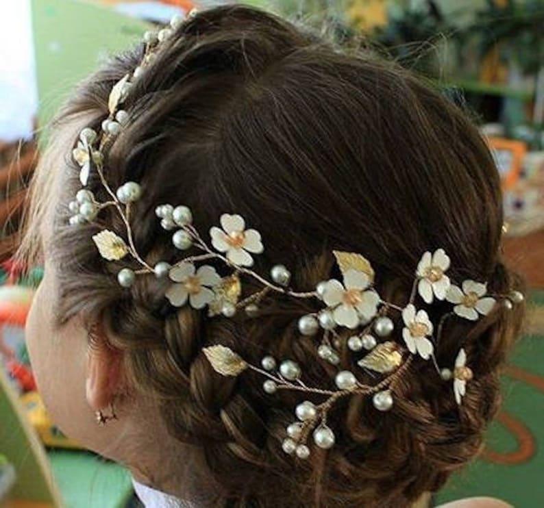4792fb86d0c Bridal headpiece bridal halo for updo hair vine Wedding