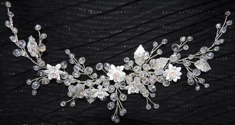 Bridal Headpiece Crystal Bridal Hair Piece Pearl Flower hair comb Pearl Wedding Hair piece Hair vine Wedding accessories Bridal Hair Halo