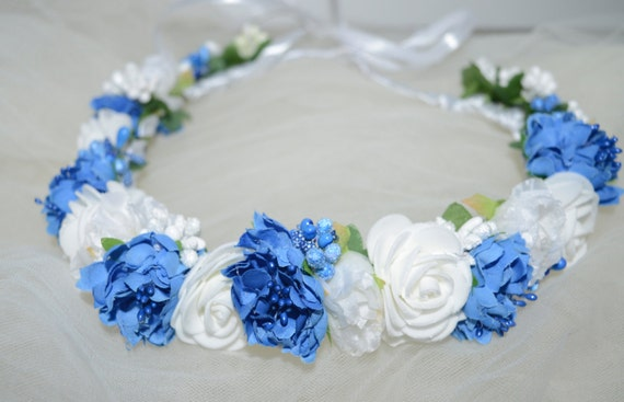 White Floral Crown Blue Bridal headpiece Bridal floral crown  ff51c8233ac