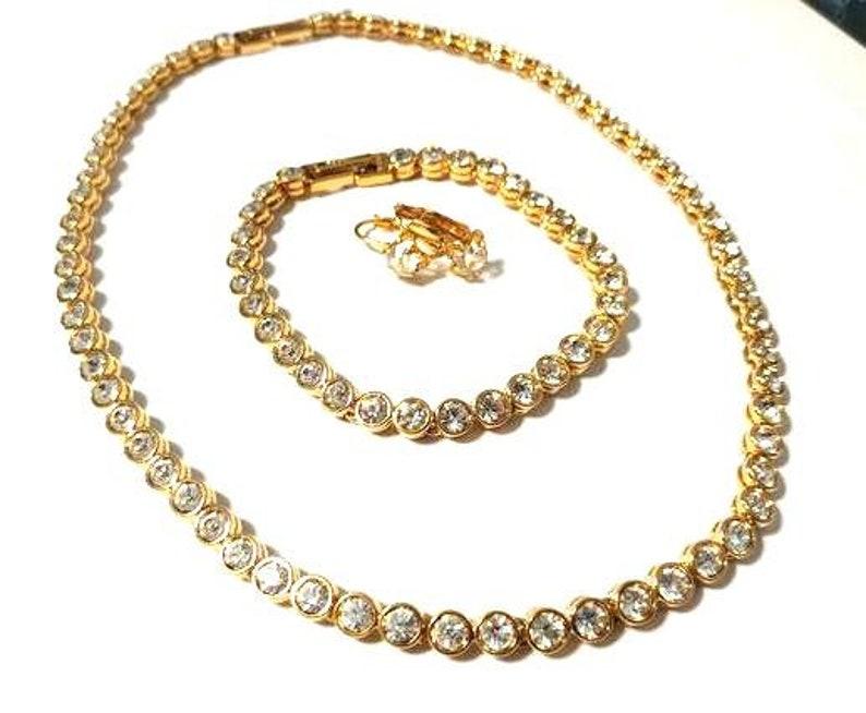 bracelet and earring set Signed D/'Orlan Vintage crystal and gold necklace