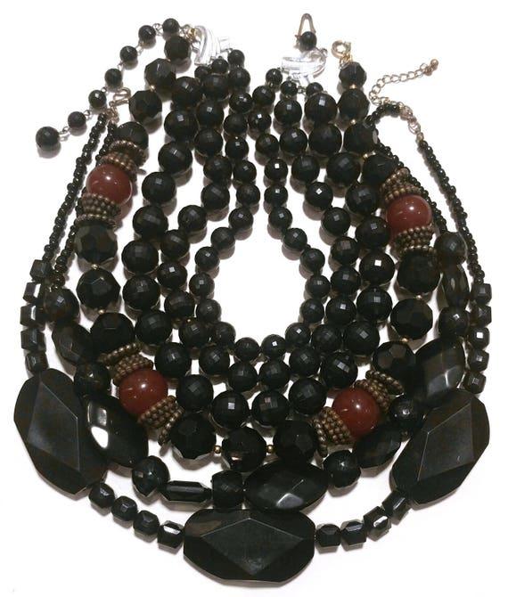 Lot of 3 Vintage Black Acrylic Necklaces