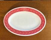 Mid Century Red Laurel Leaf Serving Tray- Vintage Oval Pyrex Serving Tray