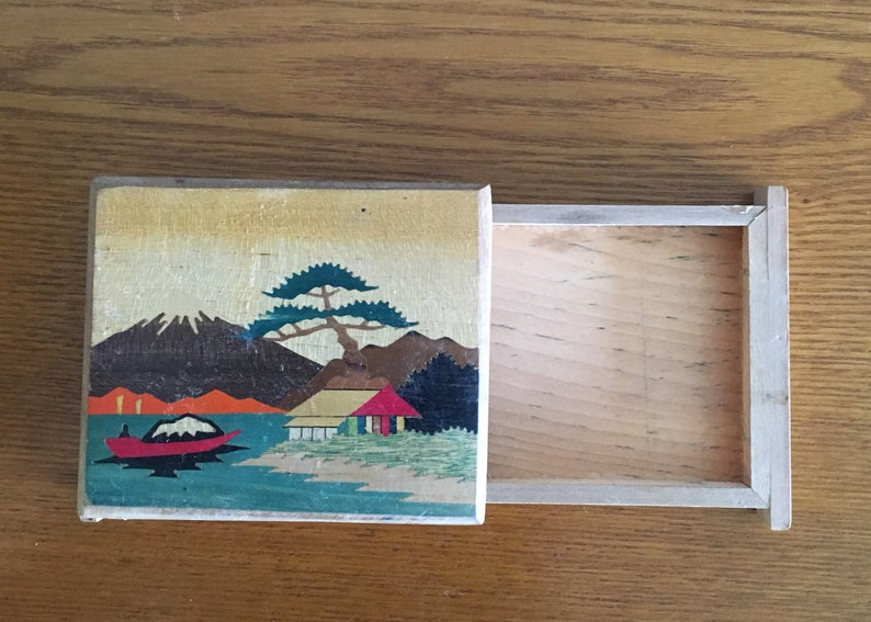 Wooden Trinket Box Vintage Wooden and Mother of Pearl Inlay Box Wooden Inlay Jewelry Box