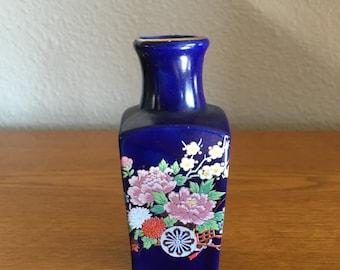 Vintage Square Cobalt Blue Bud Vase with Floral Decoration- Made in Japan