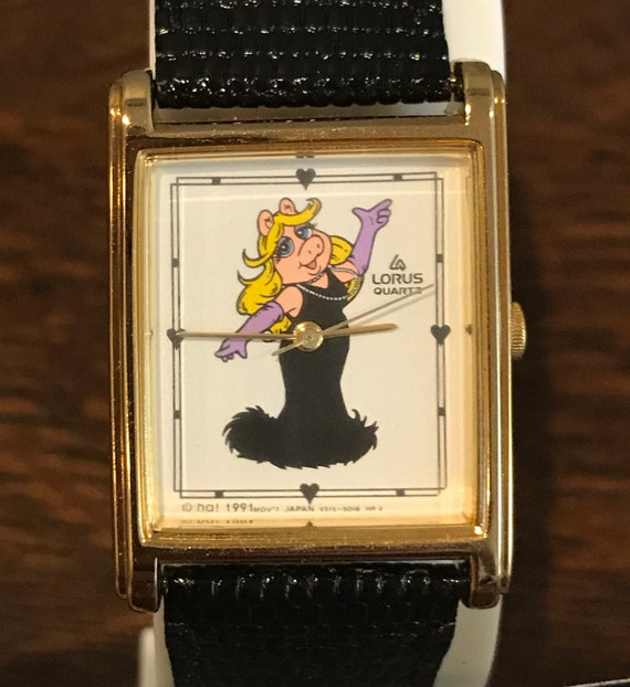 1991 Lorus Miss Piggy Watch- Vintage Rectangular M