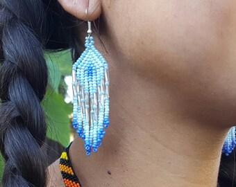 Waterfall Beaded Earrings - blue/light blue (Colombia)