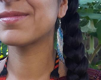 Waterfall Beaded Earrings - Clear/Blue/Gray (Colombia)