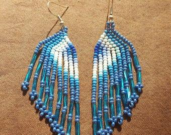 Waterfall Beaded Earrings - steel blue/blue/white (Colombia)