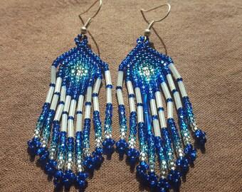 Waterfall Beaded Earrings - blue/white (Colombia)