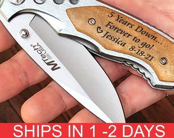 5th anniversary gift for him, Wood anniversary gift for him, 1st anniversary gift for him, wooden anniversary gifts for man engraved knife