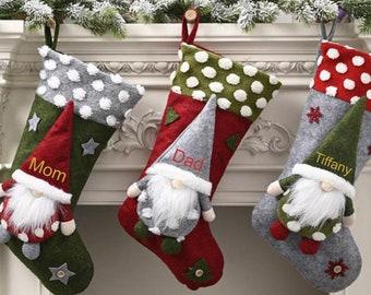 Christmas Stocking Personalized  Gnomes Elf