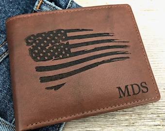 military gift personalized wallet american flag wallet deployment gift custom wallet engraved wallet toffee 7751