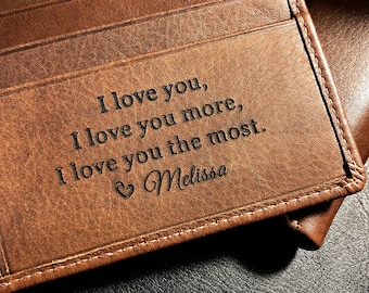 Personalized men's wallet • custom engraved wallet • personalized gift for dad, Fathers day gift • monogram wallet • Toffee  7751 >