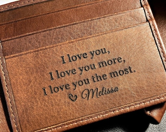 Personalized men's wallet • custom engraved wallet • personalized gift for dad, Fathers day gift • monogram wallet • Toffee  7751 +