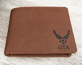 Air Force Gifts, Husband Gift, Boyfriend Gift, Slim Mens Wallet, Air Force Academy Graduation, Military Gifts Pilot Wings Toffee 7751